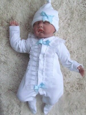 Romany Bling Unique Baby Boy Girl Frill Diamante Crystal Stud Sleepsuit Babygrow