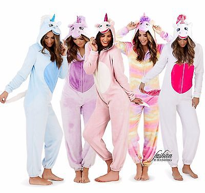 Womens Girls 3D Character Unicorn All in One Fleece Jumpsuit Pyjamas Costume