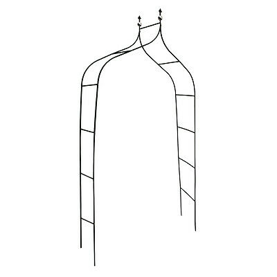 Curved Deco Rose Arch Arbour Growth Support for Climbing Plants Metal, Green