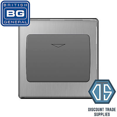 BG Screwless Flatplate Brushed Steel 16A Hotel Key Card Switch 1 Gang FBSKYCSG