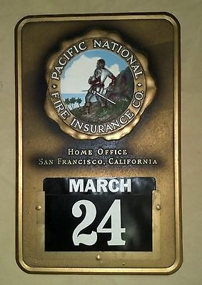 Pacific National Fire Insurance Wall Calendar Plaque - Insurance Ad
