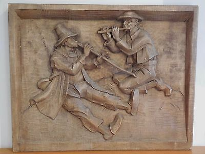 Antique HANDCARVED WOODEN  ART SCULPTURE PANEL signed R. MARKUS: FLUTE MUSICIANS