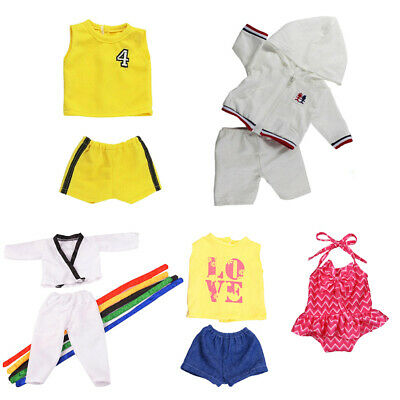 5 Set Doll Sports Clothes Swimsuit Basketball Outfit For 18'' American Girl