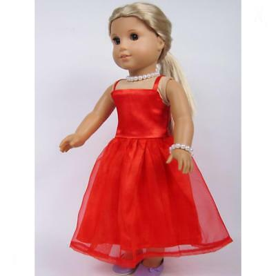 18inch Dolls Dresses Red 2 Layers Party Cute Dress for American Girl Doll