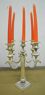 N5982 N° Magnifico Candelabro 5 Fiamme In Argento Sheffield Collection
