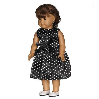 18inch Dolls Dotted Dresses Black Party Cute Dress for American Girl Doll