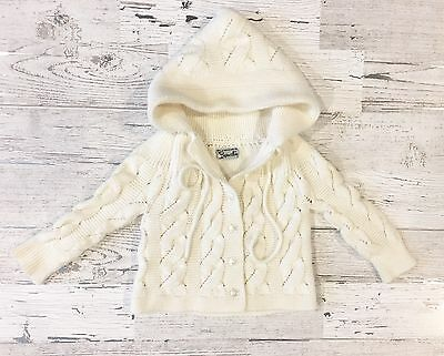Gorgeous Vintage Cupwell's Ivory Knit Button Up Chunky Sweater with Hood