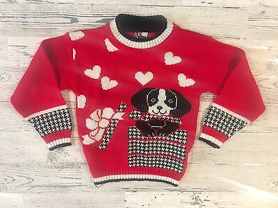 Awesome 80's Vintage Kids Red Hot Fudge Houndstooth, Hearts & Puppy Sweater USA