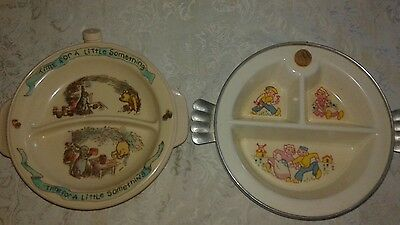 Pair of Vintage Heated Water Child's Divided Dishes~ EXCELLO~ SELANDIA