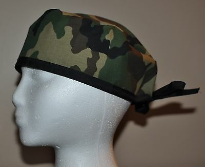 Traditional Woodland Camouflage/Camo Men's Scrub Cap/Hat - One size fits most