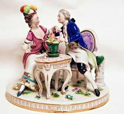 Antique German Dresden Porcelain Figural Grouping Couple Drinking Seated