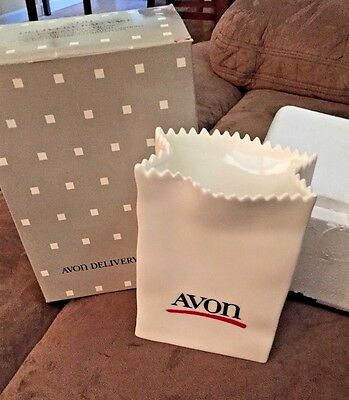 1980s Vintage Avon Delivery Bag Vase -UNUSED- In Original Box- Sales Award
