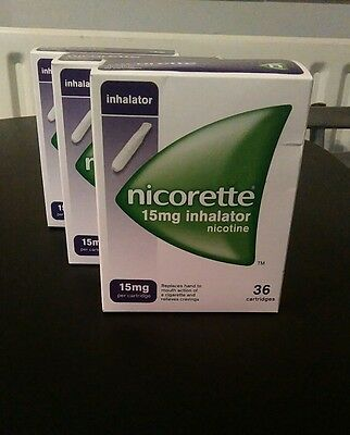 Nicorette inhalators 15mg x 3 boxes of 36 (108 in all) 1 DAY AUCTION