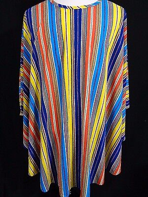 Vintage Rainbow Terry Cloth Striped Poncho Beach Cover Up