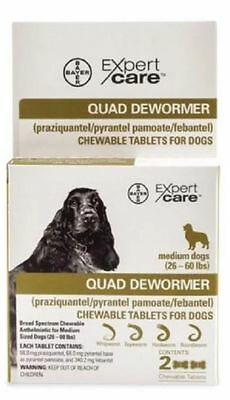 Bayer Quad Dewormer For Medium Dogs 26-60 Pounds ~ NEW