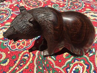 Howling Bear Carved Iron Wood Sculpture Figurine Statue Rich Brown Great!