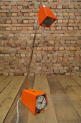 Vintage Wecker 70er Uhr Lampe Retro Orange 70s Space-Age Design Tischlampe