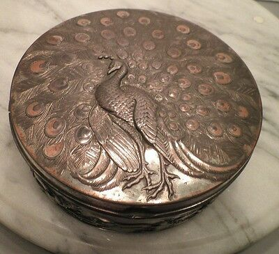 Antique Japanese Meiji  Mixed Metals Repousse Peacock And Dragons Box