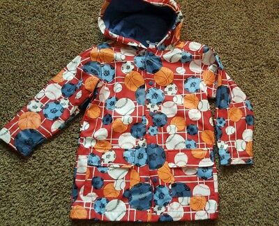 Boys/girls  raincoat hamstrings size 5/6 red sports theme lined hood