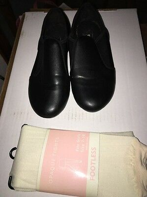 REVOLUTION DANCEWEAR TAP SHOES BLACK LEATHER SIZE Girls Youth 4.5 M GUC + Tights