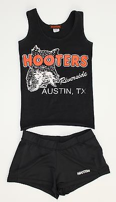 """Authentic HOOTERS Girl Uniform Black Top and Shorts from """"AUSTIN TX"""" Size. XXS"""