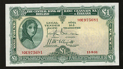 Central Bank of Ireland Lavery £1 One Pound 1951. Top end Good Very Fine