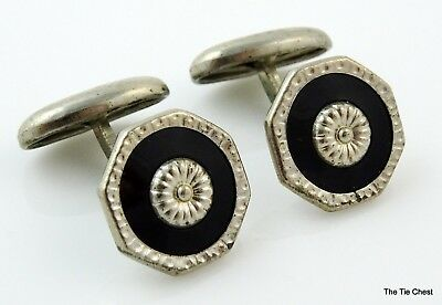 Vintage Cufflinks Silver Tone Black c1920s 30s Small Men's or Women's