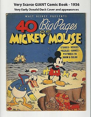 40 Big Pages Of Mickey Mouse - Rare 1936 Comic Book - Early Donald Duck - Nice
