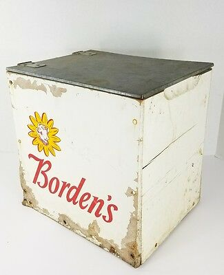 Vintage Borden's Milk Crate Box with Bottle and Order Form
