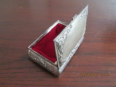 Vintage Silver Plated Small Box, Pristine Red Velvet Lined, Hinged Lid. Floral.