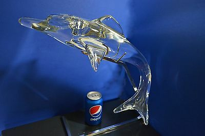 Daum France Glass Crystal Sculpture ~ LARGE Dolphin ~  excellent marked