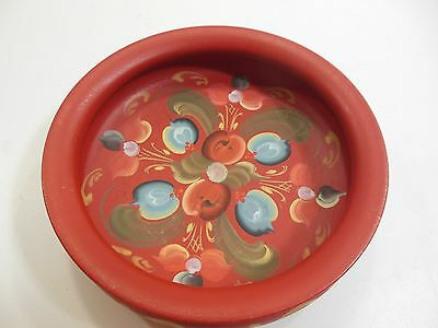 Vintage Norsk Husflid Engros Wooden Bowl Made in Norway Red Hand Painted EUC