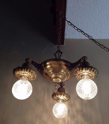 3 Arm Hanging Swag Chandelier Ceiling Pan Light Fixture Brass VTG Antique