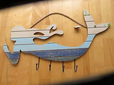 Wood MERMAID SEA GLASS Wall Decor with Hooks for Clothing, bags, belts, jewelry