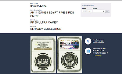 1994 Egypt, Silver Proof 5 Pounds, 5 Ibis Birds, Ngc Top Grade, Pf69