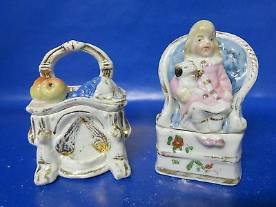 Two Antique German Fairing Trinket Boxes Fruit Girl with Dog