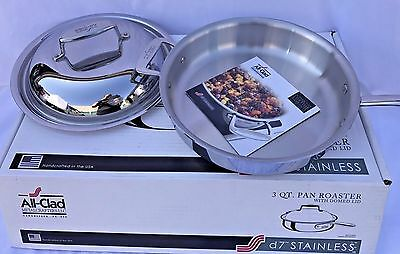 All-Clad D7 Pan Roaster With Domed Lid Stainless Steel 3 Qt. New Free Shipping