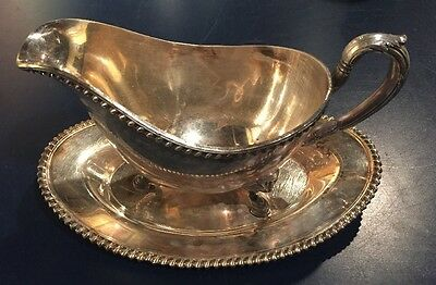 Vintage Wilcox Ashley Silverplate Footed Gravy Boat & Under-plate