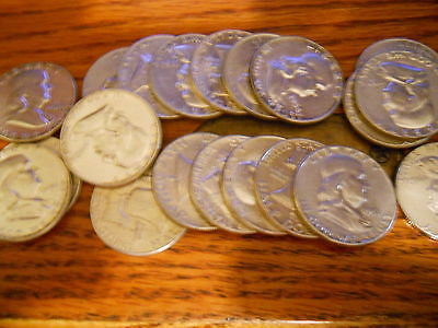(20)Nice Franklin Half Dollars Some W/mint Marks All Silver 10$ Roll