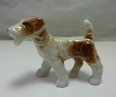 VINTAGE JAPAN WIRE HAIRED FOX TERRIER or AIREDALE PORCELAIN FIGURINE