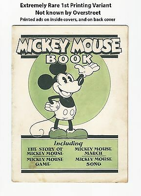 1st MICKEY MOUSE COMIC BOOK - UNKNOWN 1st PRINT VARIANT! ADS INSIDE 1930