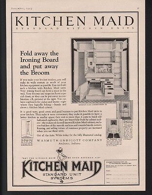 1923 Kitchen Maid Kitchen Decor Cabinet Andrews Indiana Cook Food Art Ad-21429