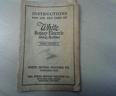 White Rotary Electric Model 41 Sewing Machine Instruction Manual