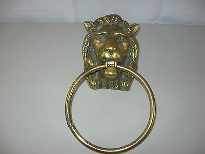 "Lg Solid Brass Lion's Head Door Knocker/Puller- 8"" X 5 7/8"" X 4 1/4""~6 Lbs 13 Oz"