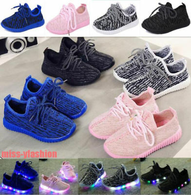 Kids Child Boys Girls Light Up Trainers Knitted Sneakers Luminous Shoes Size -