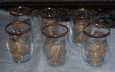SET of 6 COORS ROCKY MOUNTAIN BEER Golden Colorado GOLD RIMMED TASTING GLASSES