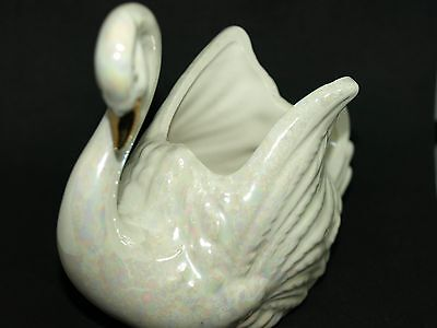 Vintage Iridescent Swan Planter Marked E167A-25--1025