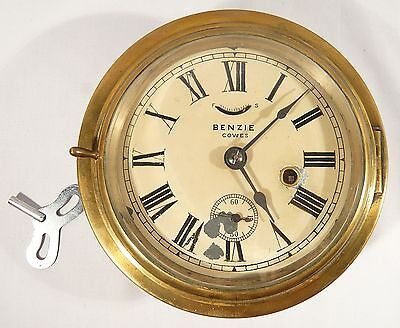 Vintage or Antique Benzie of Cowes Brass Ships Clock