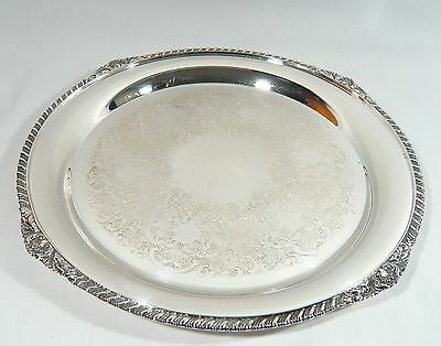 "Heavy Round Silver plate Drink Serving Tray 12 3/4"" Old English Reproduction"
