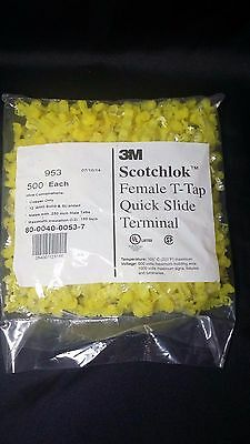 3M T-Tap, Displacement Connector,12 AWG,953, Yellow, 500 pieces